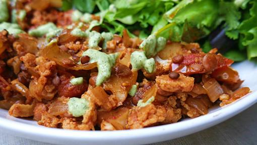 Easy One Pot Meals: Vegan Cauliflower Lentil Stew with Tzatziki Recipe