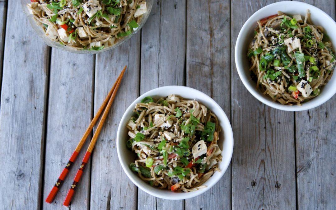 Easy Vegan Sesame Soba Salad Recipe with Tofu